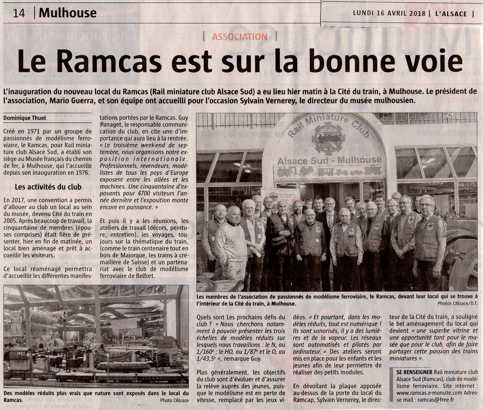 16/04/2018 Article du journal L'Alsace