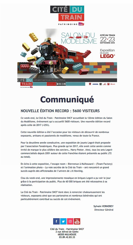 24/09/2018 Communiqué de la Cité du Train